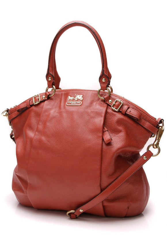 Coach Lindsey Satchel Bag Coral Madison Leather