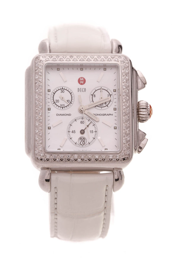 Michele Deco Diamond Chronograph Watch Steel Alligator White