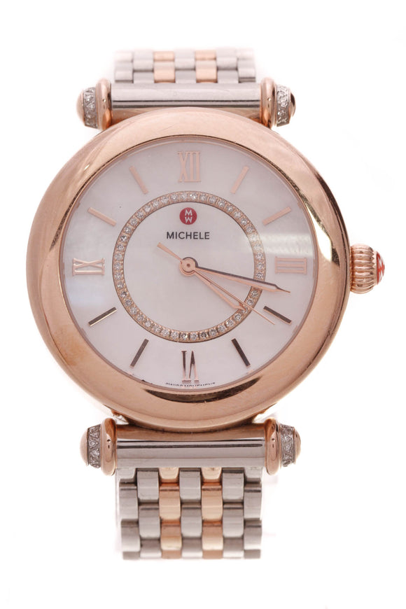 Michele Diamond Caber Mid Two-Tone Watch Steel Rose Gold Plated