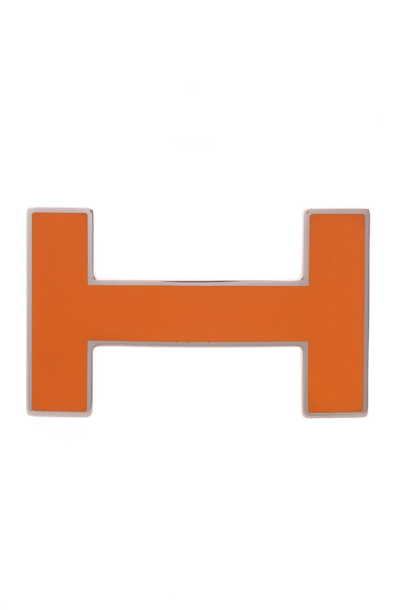 Hermes H Quizz Belt Buckle Orange Enamel