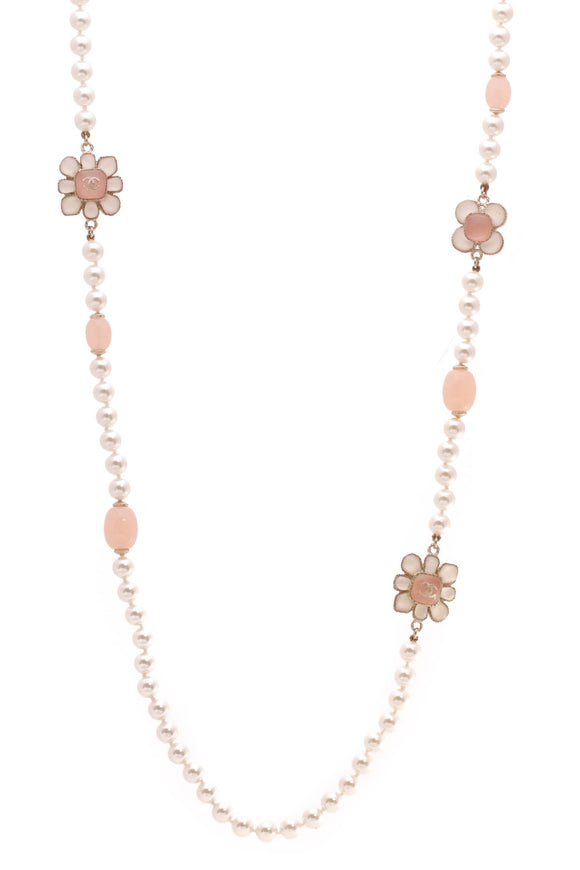 Chanel Metiers d'Art Paris-Seoul Pearl Flower Blossom Necklace Gold Pink