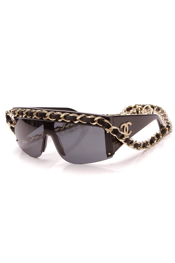 Chanel Vintage Chain Link Shield Sunglasses 0027 Black