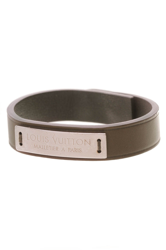 Louis Vuitton Press It Bracelet Olive Green Leather