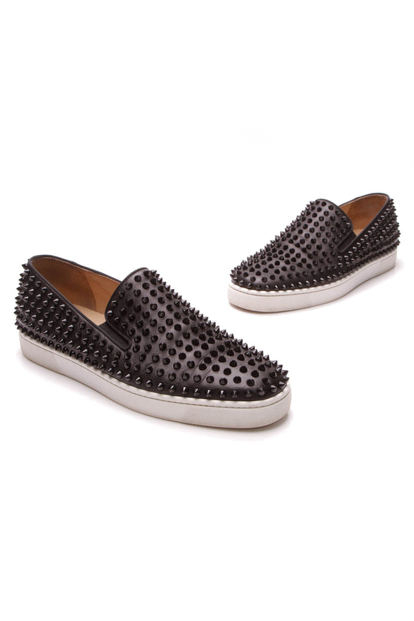 Christian Louboutin Roller Boat Spike Slip-On Men's Sneakers Black US Size 10