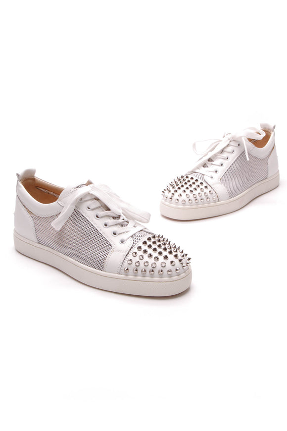 Christian Louboutin AC Louis Junior Spike Men's Sneakers White Silver US Size 8.5