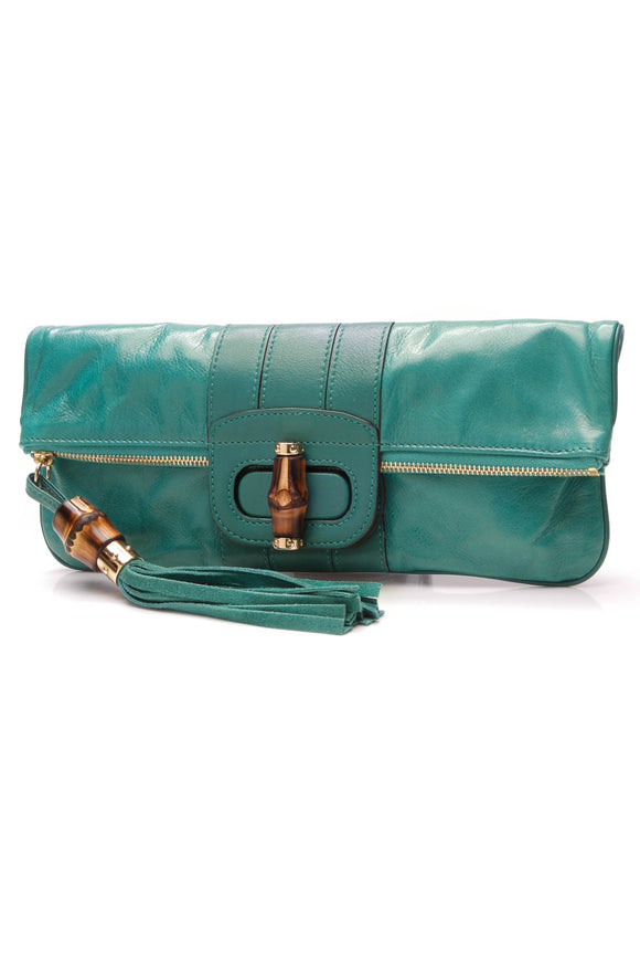 Gucci Lucy Folded Clutch Bag Teal Calfskin