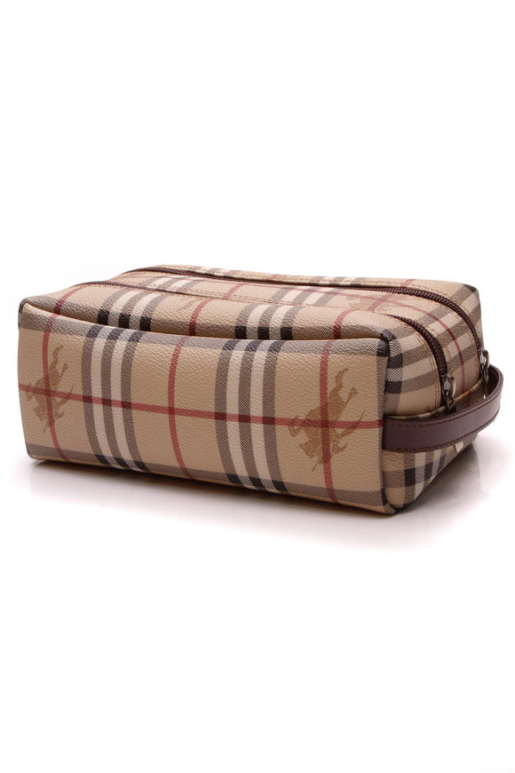 Burberry Toiletry Bag Haymarket Check Beige