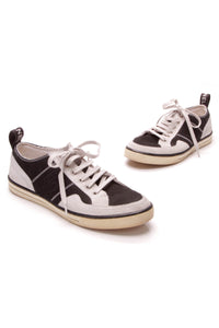 Chanel Tennis Sneakers Black White Size 40.5