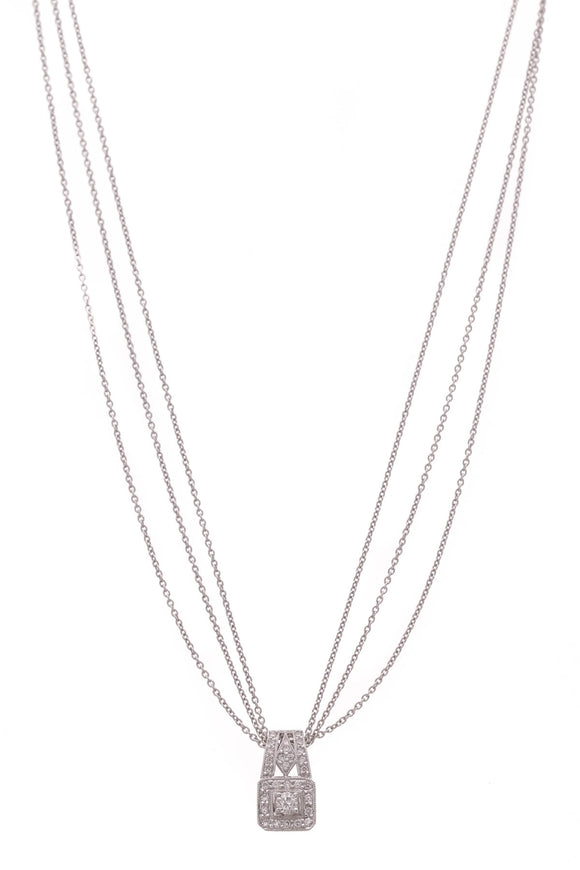 Diamond Estate Pendant Necklace White Gold