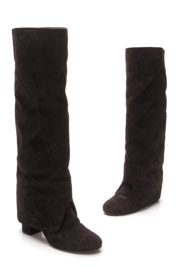 Chanel Quilted Knee High Boots Black Suede Size 37