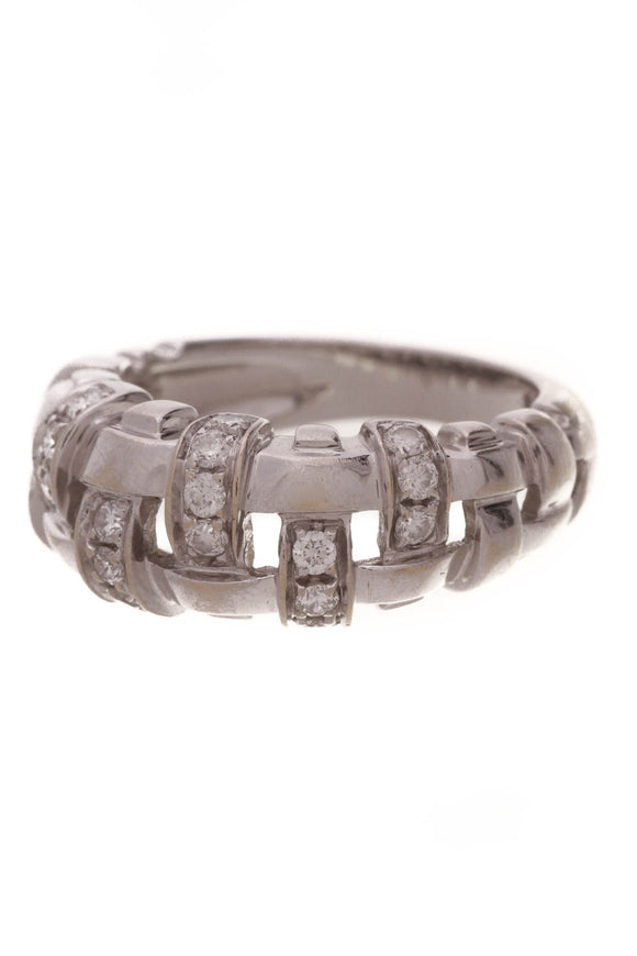 Tiffany & Co. Diamond Lattice Ring White Gold Size 5.5