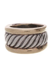 David Yurman Cigar Cable Band Ring Silver Gold Size 6