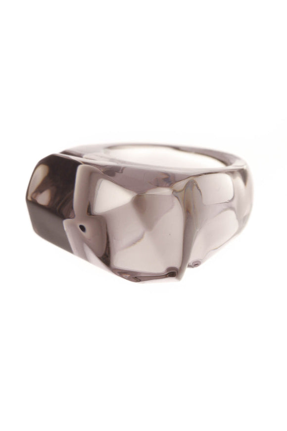 Baccarat Mist Crystal Ring Gray Size 6.5
