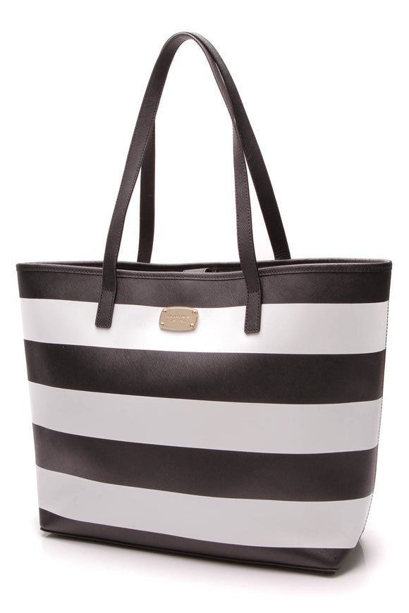 Michael Kors Jet Set Tote Bag Black White