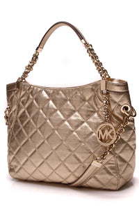 Michael Kors Quilted Susannah Medium Tote Bag Gold