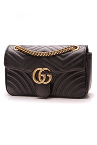 Gucci Marmont Small Shoulder Bag Matelasse Leather Black