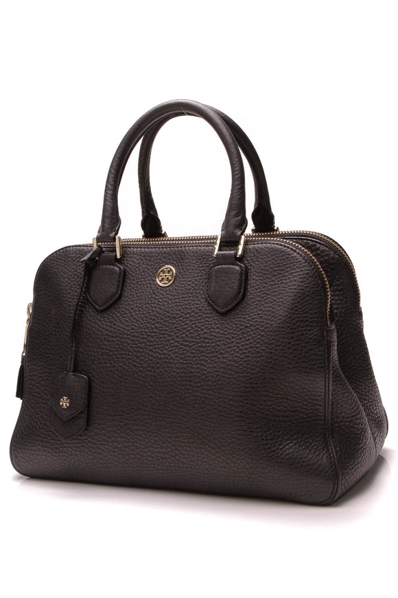 Tory Burch Robinson Triple-Zip Satchel Bag Black