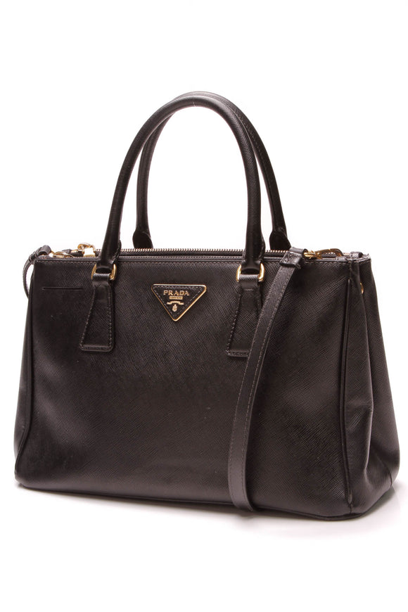 Prada Double Zip Small Tote Bag Black