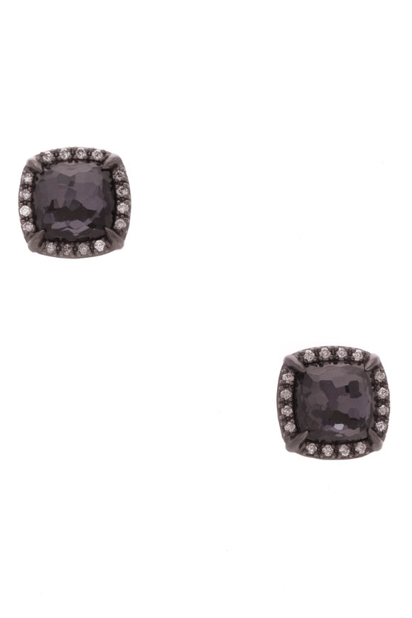 David Yurman Black Orchid Diamond Chatelaine Stud Earrings Silver