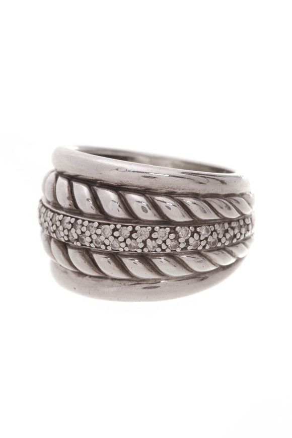 David Yurman Diamond Wide Cable Ring Silver Size 6