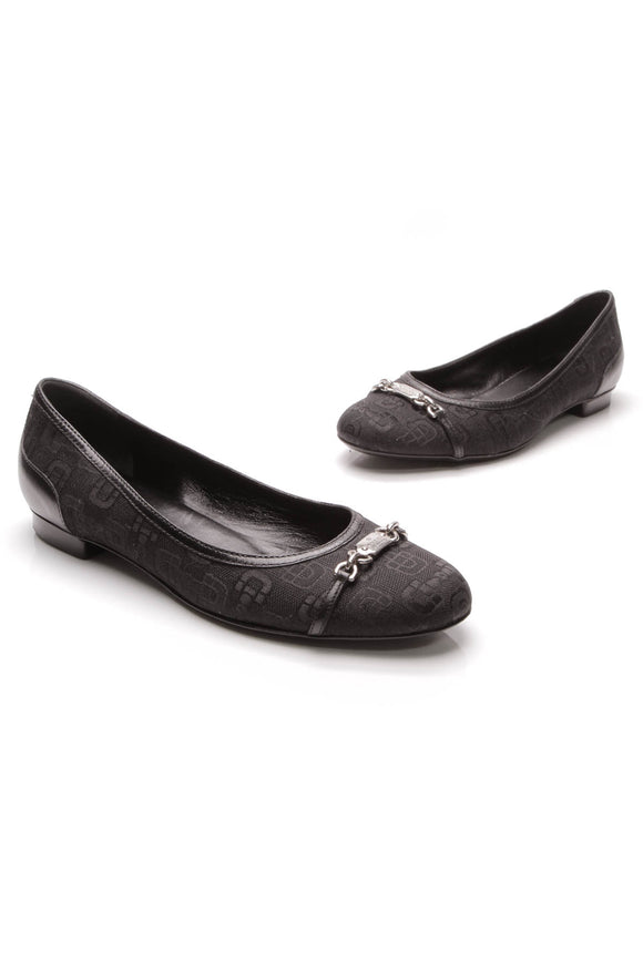 Gucci Horsebit Ballet Flats Black Canvas Size 37