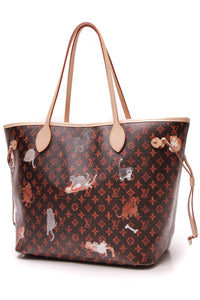 Louis Vuitton Catogram Neverfull MM Tote Bag Transformed Monogram Black Red