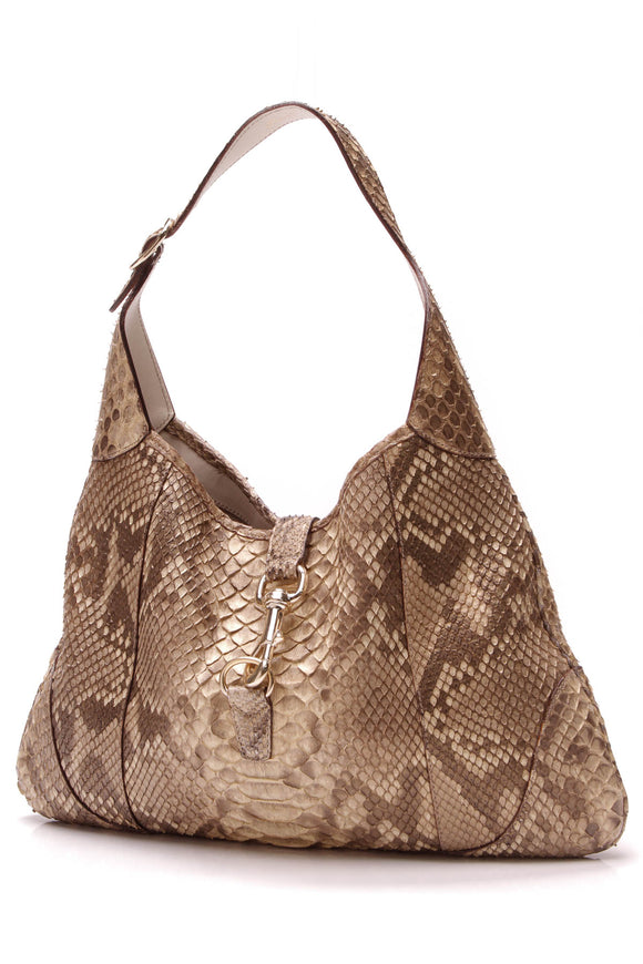 Gucci Python Jackie Medium Shoulder Bag Metallic Beige