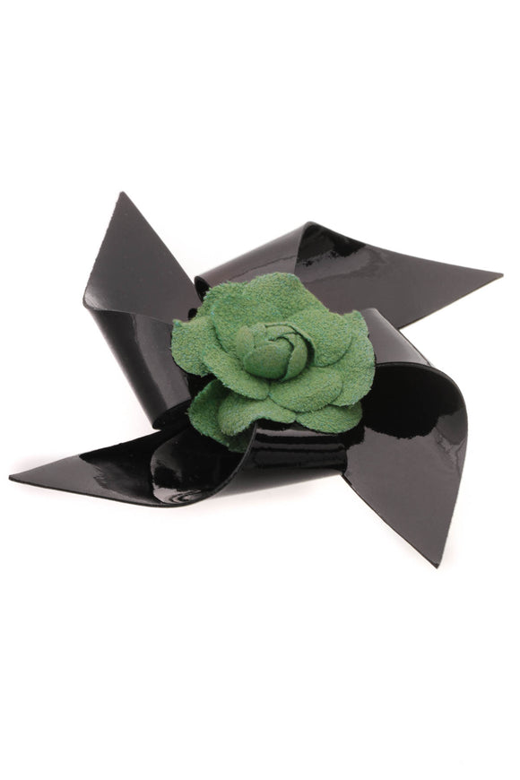 Chanel Camellia Pinwheel Brooch Green