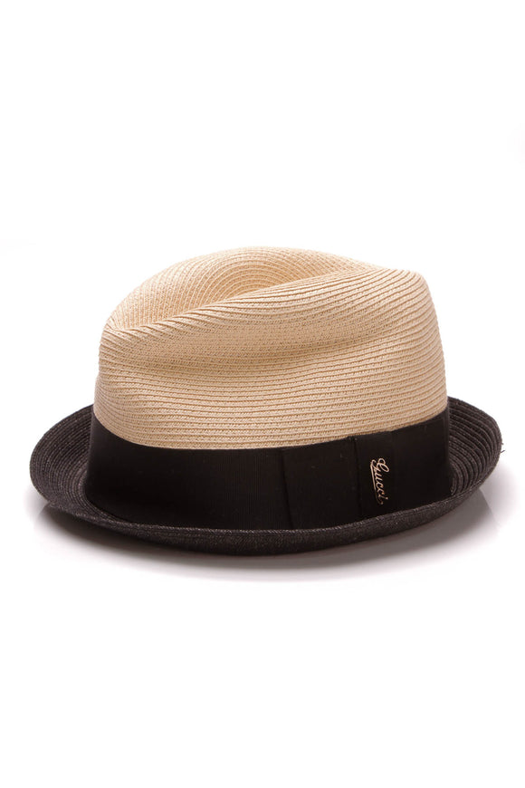 Gucci Woven Straw Fedora Hat Beige Black Size Large