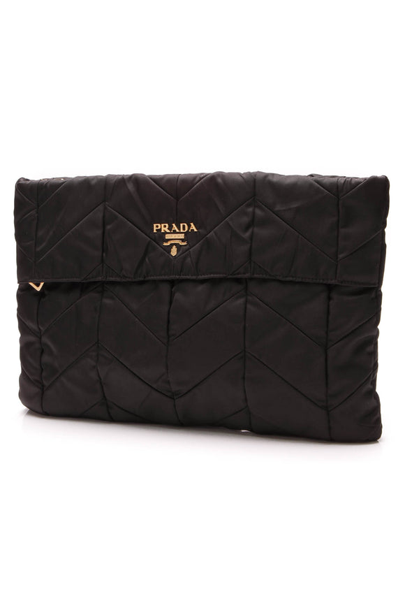 Prada Chevron Quilted Nylon Clutch Bag Black
