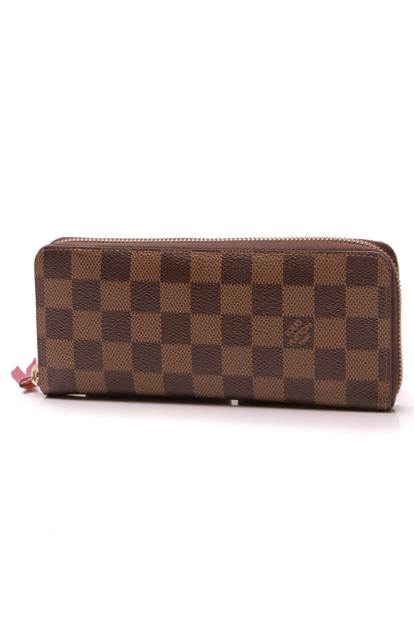 Louis Vuitton Clemence Zippy Wallet Damier Ebene Cherry Brown Red