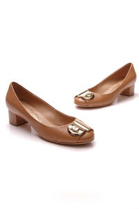 Salvatore Ferragamo Fiamma Pumps Tan Size 7