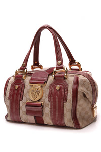 Gucci Aviatrix Medium Boston Bag Signature Canvas Brown Magenta