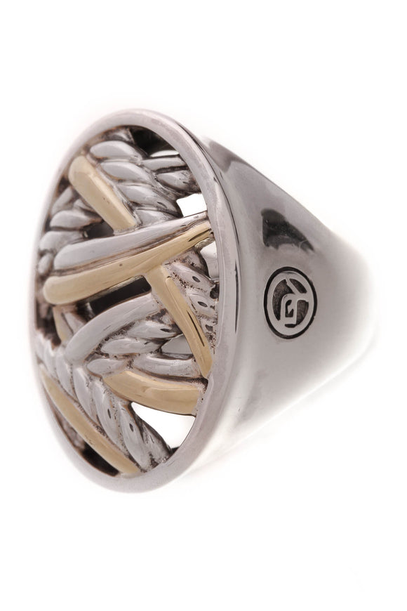 David Yurman Papyrus Oval Ring Silver Gold Size 6