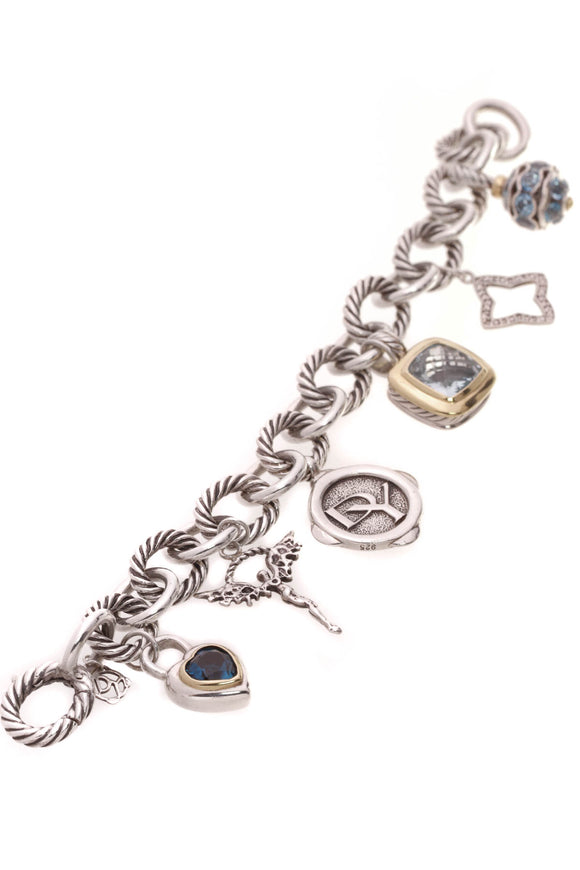 David Yurman Diamond Blue Topaz 25th Anniversary Charm Bracelet Silver Gold