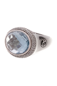 David Yurman Blue Topaz Diamond Signature Oval Ring Silver Size 6