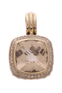 David Yurman 14mm Citrine Diamond Albion Pendant Silver Gold