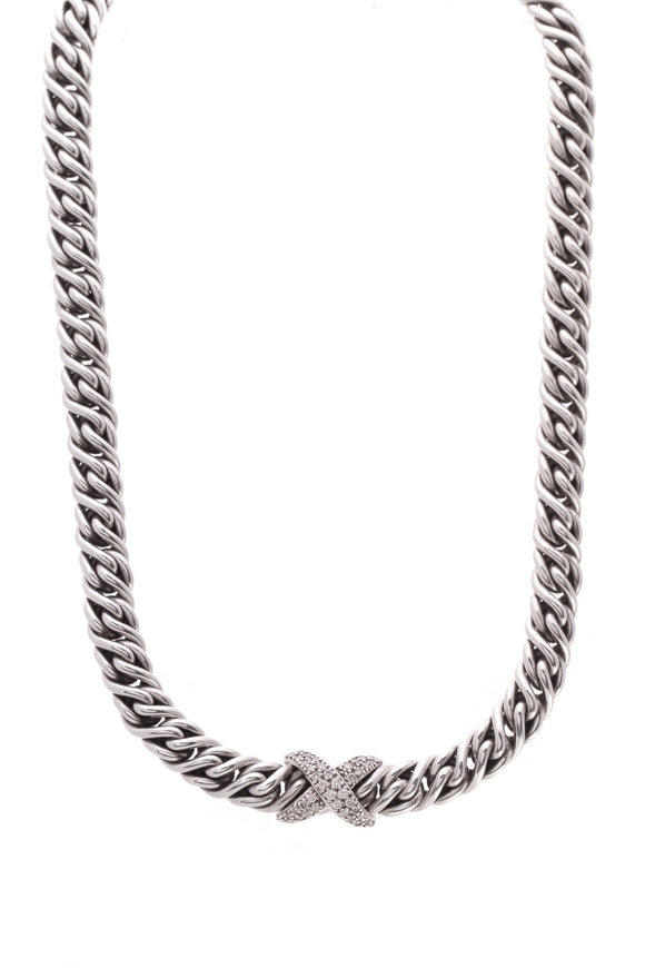 David Yurman Diamond Crossover X Lyrica Rope Collar Necklace Silver