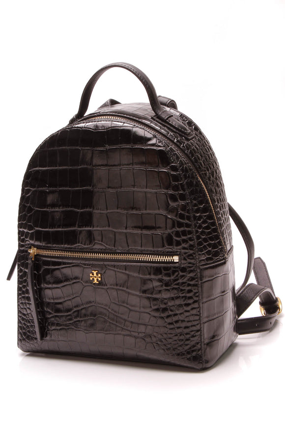 Tory Burch Embossed Crocodile Backpack Black