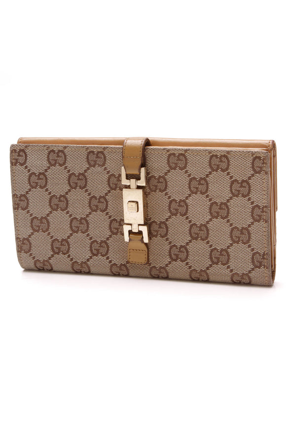 Gucci Continental Bardot Wallet Signature Canvas Tan