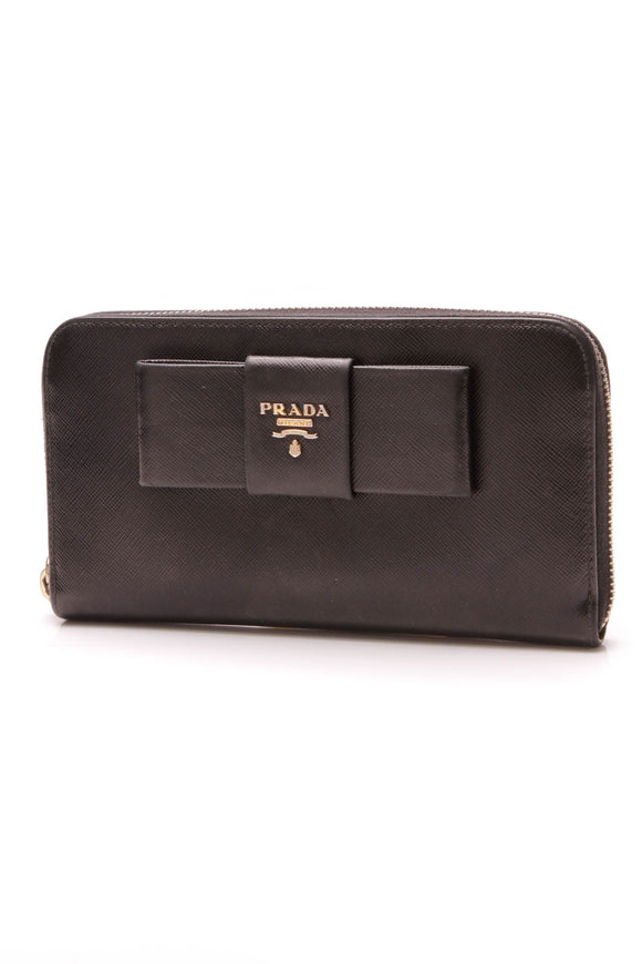 Prada Big Bow Zip-Around Wallet Black