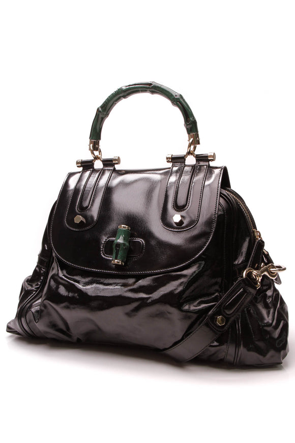 Gucci Dialux Pop Top Handle Bag Black