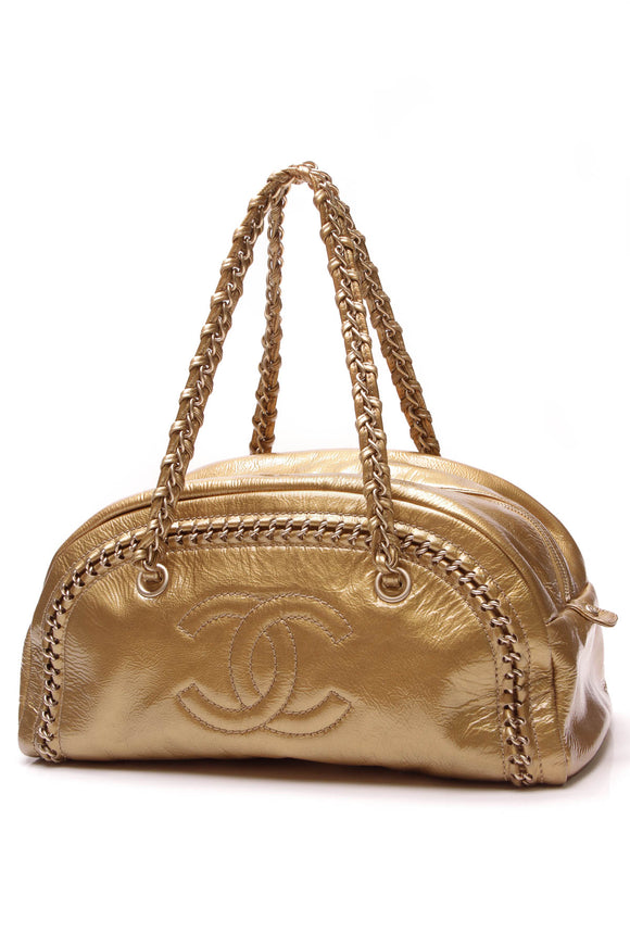 Chanel Luxe Ligne Medium Bowler Bag Gold