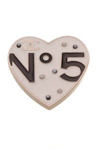 Chanel No.5  Heart Brooch Ivory Gold