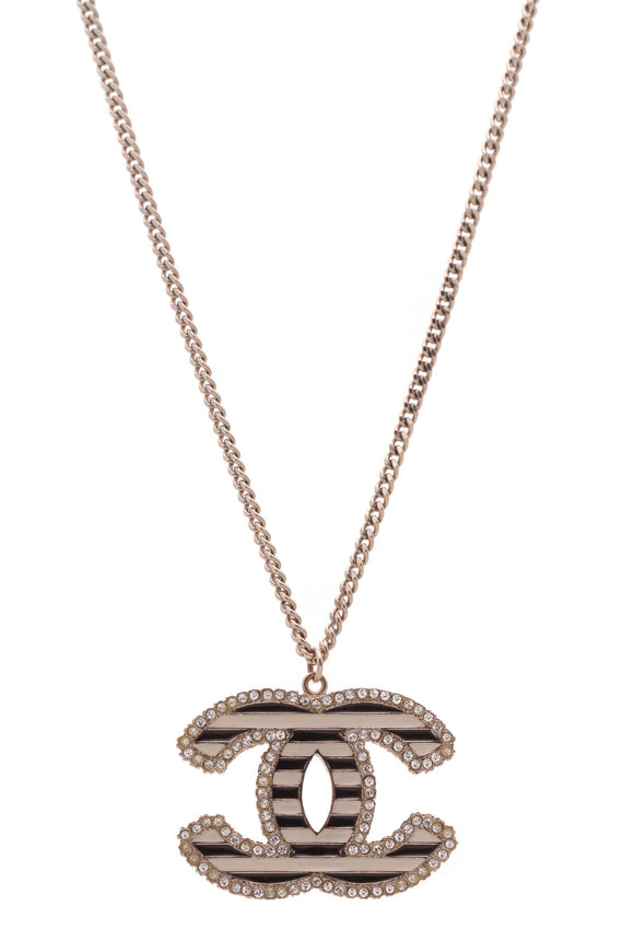 Chanel Crystal Enamel Striped CC Pendant Necklace Gold