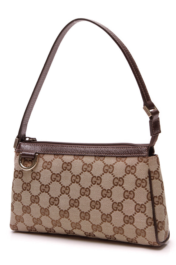 Gucci Abbey D-Ring Pochette Bag Signature Canvas Beige Brown