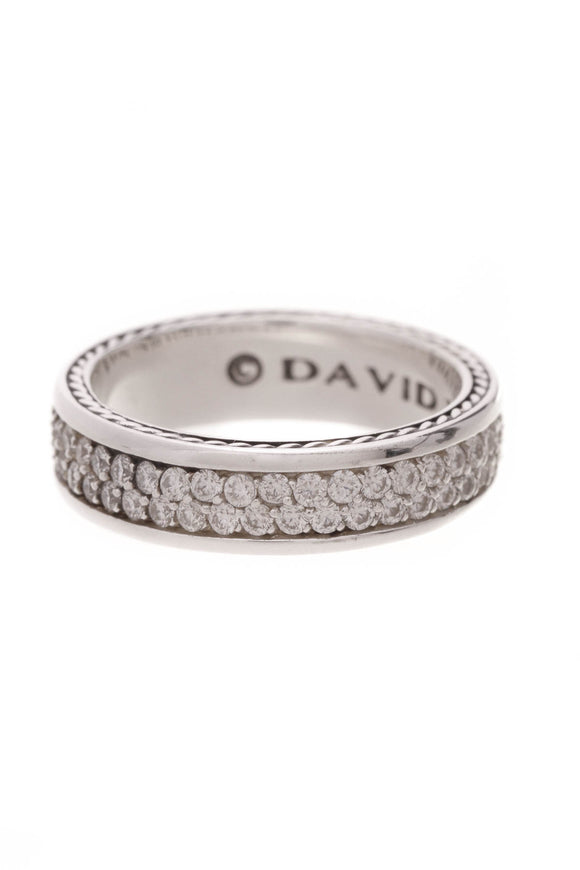 David Yurman 7mm Streamline Pave Diamond Men's Band Ring Silver Size 8.5