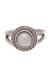 David Yurman Pearl Diamond Cerise Ring Silver Size 5.5