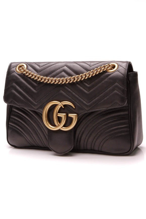 Gucci Marmont Medium Shoulder Bag Black Matelasse