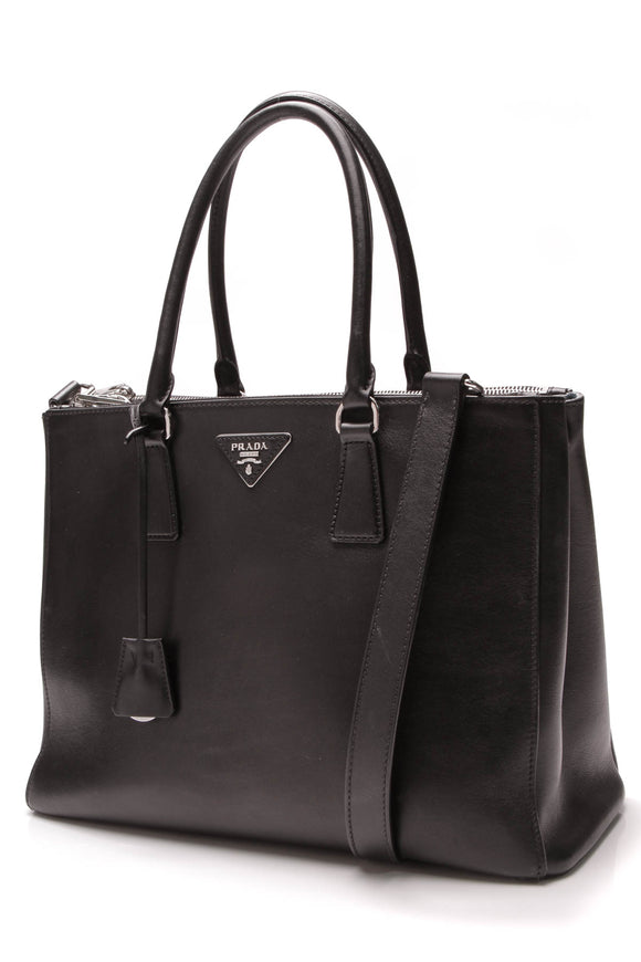 Prada Galleria Double Zip Tote Bag Black Calf